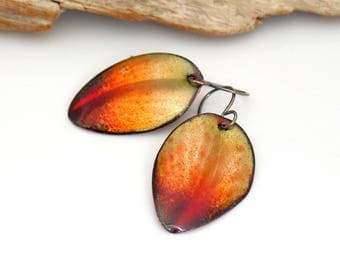 Fall Earrings, Peach Color Leaf Enameled Dangles, Abstract Leaf Earrings, Copper Enamel Jewelry, OOAK Original, Ready to Mail Gift