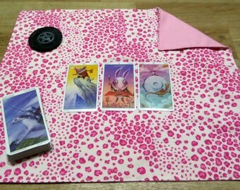 Travel Reversible Pink Leopard Print Tarot Card Reading Cloth/ Altar Cloth