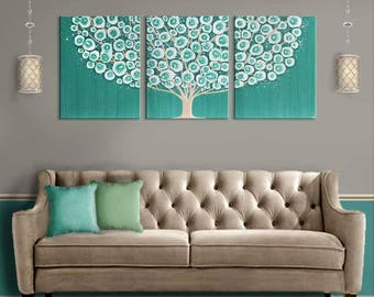 Extra Large Original Painting Teal Wall Art For Living Room
