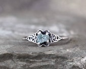 Blue Raw Diamond Celtic Knot Engagement Ring - Raw Rough Uncut Diamond Rings - Sterling Silver - Rustic - Made in Canada