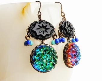 Iridescent Bermuda Blue Earrings Glamorous Statement Vintage Blue Purple Glass Druzy Jewel Earrings Iridescent Glamorous Statement Jewelry