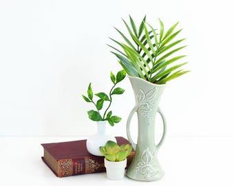 Vintage 1940s Red Wing Pottery Vase / Vintage Pearl Grey & Maroon Ivy Vase / Red Wing Pottery Ivy Vase / Red Wing 1361 Vase