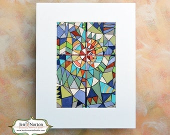 Stained Glass Painted Cross, Wall Art Print, Confirmation gift