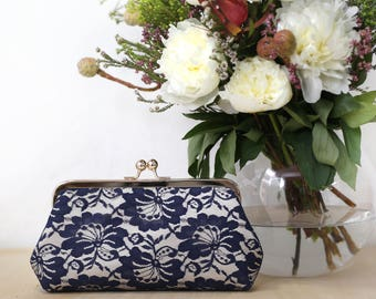 Champagne and Navy Camellia Lace Bridal Clutch 8-inches| Mothers Clutch | Gift for her