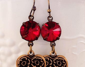 July Birthday Gift - Jewelry - Heart Earrings - Red Crystal - Romantic - JULY SPECIAL Earrings