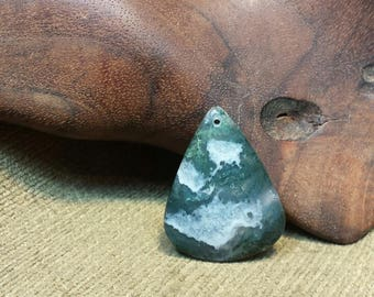 Moss Agate Thick Rounded Triangle