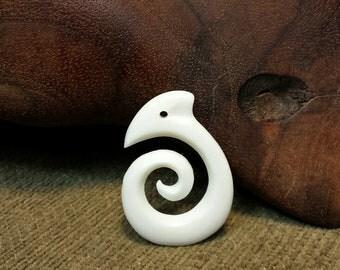 Polynesian Tattoo Symbol Carved in Buffalo Bone