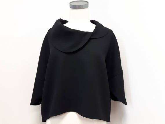 Black mantle, women clothing, classic style, loose fit top, pure wool, stylish jacket, one size