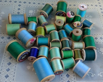 38 Wooden Spools Sewing Thread Green and Blue Shade  Belding Corticelli Coats Clarks Talon Mercerized Cotton sei Boilfast