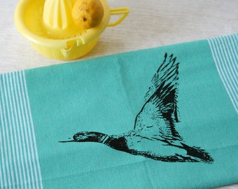 Fair Trade handwoven tea towel 'mallard duck' turquoise