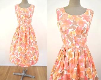 Vintage M/L Floral Print 50s Dress // 1950s party orange pink white brown shelf bust medium large