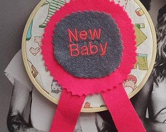 new baby rosette embroidery hoop artwork