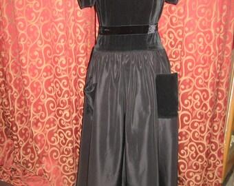 """1940's, 32"""" bust, black velveteen and taffeta  gown."""