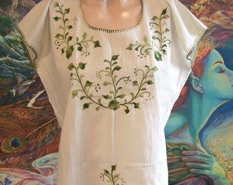 Mexican Blouse, Embroidered Blouse, off White, Cotton, Frida Kahlo, size M