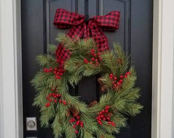Christmas Wreaths for Front Door, Christmas Wreaths and Swags, Holiday Wreaths, Christmas Pine Wreaths, Black and Red Ribbon