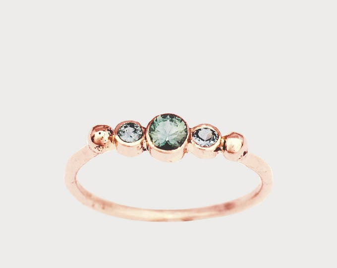 BTWN You and Me_ 14K Rose Gold Montana Sapphire Engagement ring, Three Stone Engagement Ring