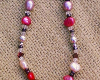 South Sea Pearl Necklace, Baroque Pearl, Pearl Necklace, Pink Red Magenta Necklace, Ruby Necklace, Pearl Jewelry, South Sea Jewelry, Resort