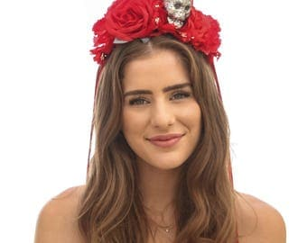 Day Of the Dead Headband Red Rose Headband with Glitter Skull Halloween Hair Accessory Corona de Flores, Costume Mexico Mexican Flower Crown