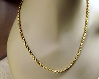 Vintage Revlon Signed Goldtone 18 Inch Rope Chain Necklace, Estate Costume Jewelry, 1980s Fashion, Very Good