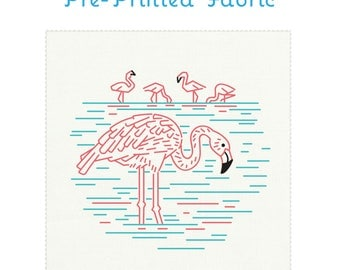 FLAMBOYANT FLAMINGOS pre-printed embroidery fabric, hand embroidery, flamingo embroidery, modern embroidery design by StudioMME