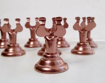 Wedding Table Number Holder Copper Rose Place Card Holder Set of 12 Stainless Steel Painted Harp Clip for Buffet Food Marker, Seating Cards