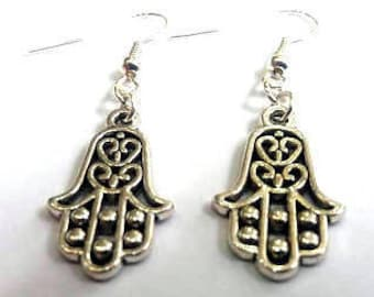 Hand of Fatima earrings - hamsa earrings - protection earrings