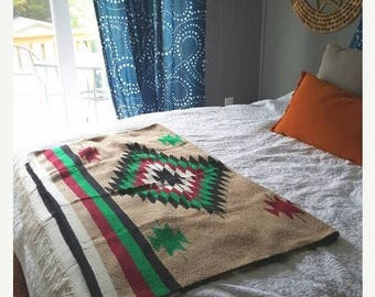"SALE AMAZING Mexican Southwestern Saddle Blanket / 1980s tribal print / 79"" x 48"""