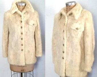 SALE UNIQUE Ivory Mink Fur Jacket / casual boho / XS