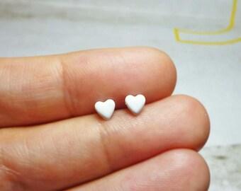 Tiny Lovely Heart Stud Earrings, Dainty Earrings