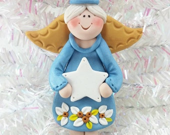 Polymer Clay Boy Angel Christmas Ornament - Baby's First Christmas - Baptism - 1st Communion - Handmade Ornament - Baby's 1st Christmas -831