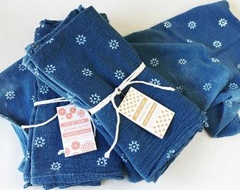 Indigo Napkin Set, Naturally Dyed Indigo Table Linens, Hand dyed and printed indigo napkins, Summer Party Napkins, set of 4