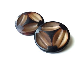 Dark brown plastic sewing buttons - set of 2 vintage shank buttons 34mm