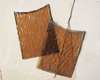 Antique stained glass panels - Edwardian ripple glass in amber gold - assemblage supplies