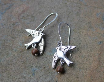 Coconut Laden Swallow Earrings- for Monty Python Holy Grail Fans- Silver tone bird charms, wood beads, silver plated hooks- free ship USA