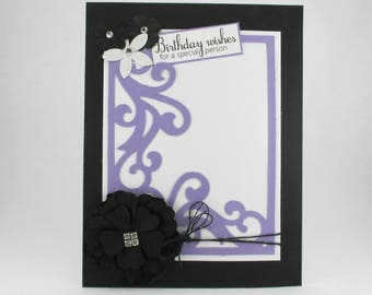 Birthday cards for her, elegant birthday cards, purple, mom, sister, daughter, friend, birthday cards feminine