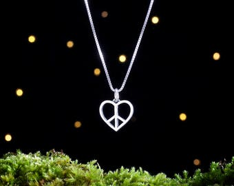 Sterling Silver Peace Heart - Double Sided - (Charm, Necklace, or Earrings)