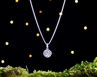 Sterling Silver Teeny Tiny Om - Double Sided - (Charm, Necklace, or Earrings)