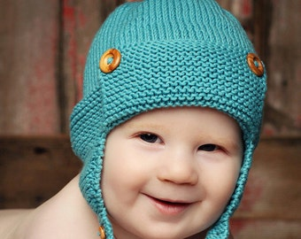 Knitting Pattern Baby Aviator Hat Pattern, Earflap Hat Pattern, Hat Pattern for Boy, Easy Knit Baby Hat PDF Pattern WRIGHT FLYER