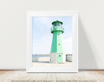 Lighthouse Photograph, Gdansk Poland, Poland Photography, Europe Travel, Nautical, Green Lighthouse, Mint Lighthouse, Modern, Beach Decor