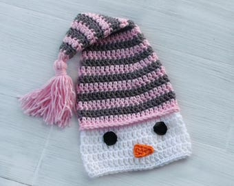 Crochet Snowman Baby Hat, Warm Winter Baby Hat, Baby Elf Hat, Christmas Baby Hat, Crochet Stocking Hat, Pink and Gray