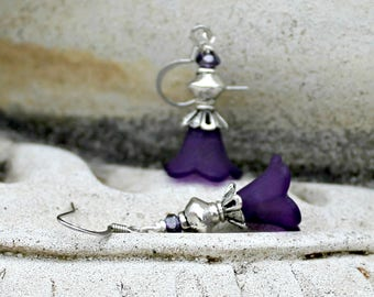 Dark Purple Flower Earrings, Bohemian, Antique Silver