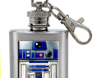 R2D2 Stainless Steel Keychain 1 Ounce Flask