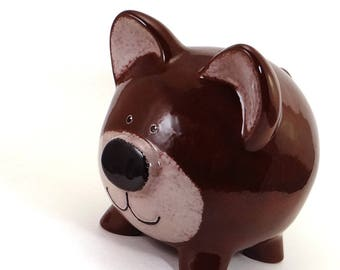 Grizzly Bear Bank - Personalized Piggy Bank - Woodland Theme Bank - Teddy Bear Bank -  Wild Forest Animal Bank - with hole or NO hole