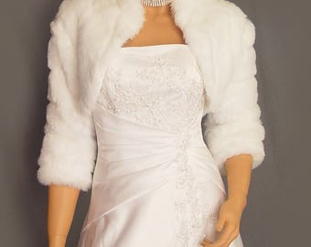 Faux fur bolero jacket 3/4 sleeve with collar in Mink bridal shrug wedding stole coat evening wrap FBA102 AVL in white and 2 other colors