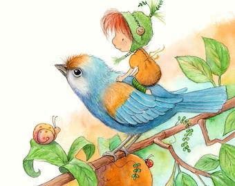 Twyla Cricket - Redhead Fairy - Fairy Art - Art Print