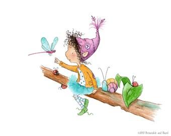 Peridot Sugarleaf - Brunette Curly Hair and Dragonfly - Fairy Elf Art - Art Print