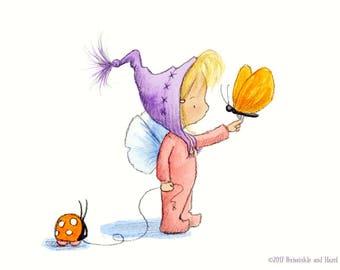 Meadow Stardrop - Toddler Baby Nursery Fairy Art - Art Print