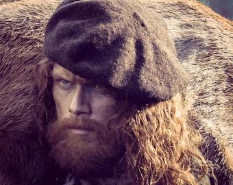Jamie's Scottish Tam, The Dunbonnet, Outlander Hand Knit Felted Brown Highlands Wool, Made to Order