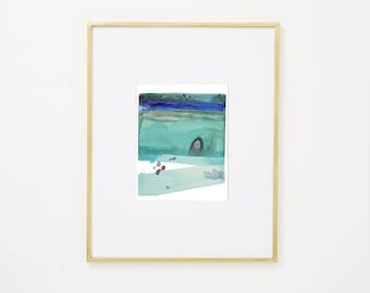 """Abstract Waterscape, Original Watercolor Painting, blue, green, teal, turquoise, purple, 8 x 10"""" expressionist art, modern minimal colorful"""