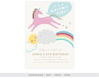 Digital Unicorn Birthday Invitation with Photo   Unicorn Birthday Invitation, Rainbow Birthday Invitation, Unicorn Template Instant Download